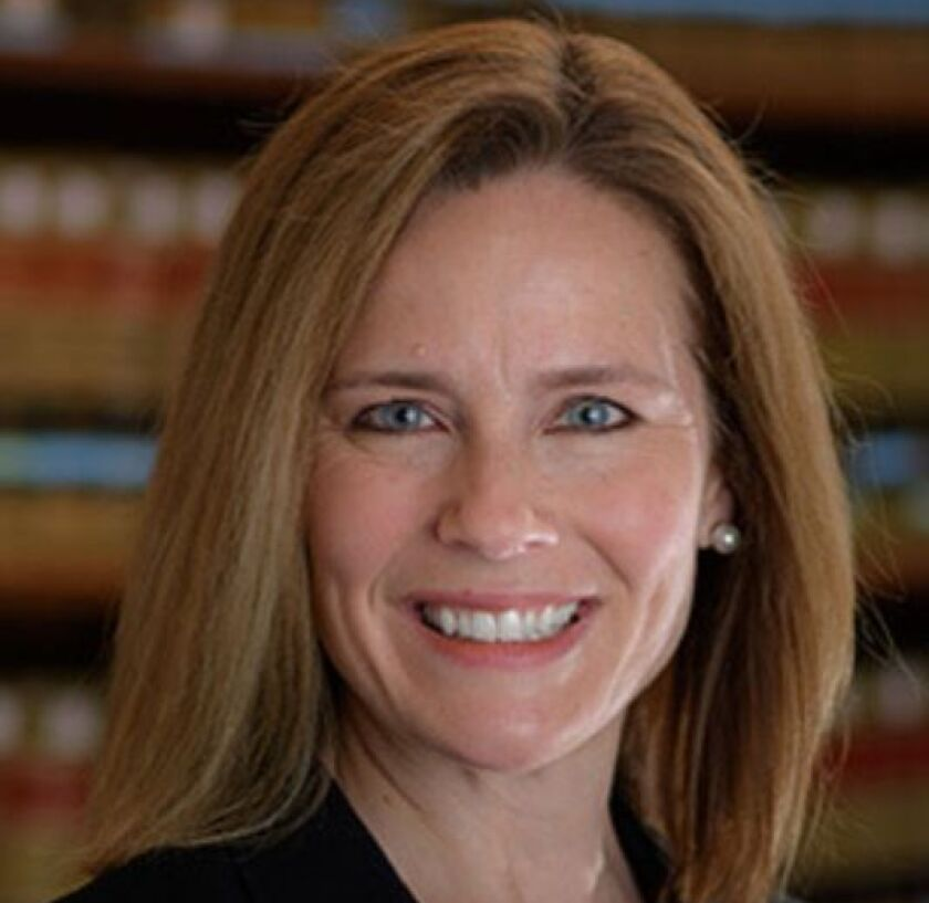 A portrait of federal Judge Amy Coney Barrett of the 7th Circuit Court of Appeals.