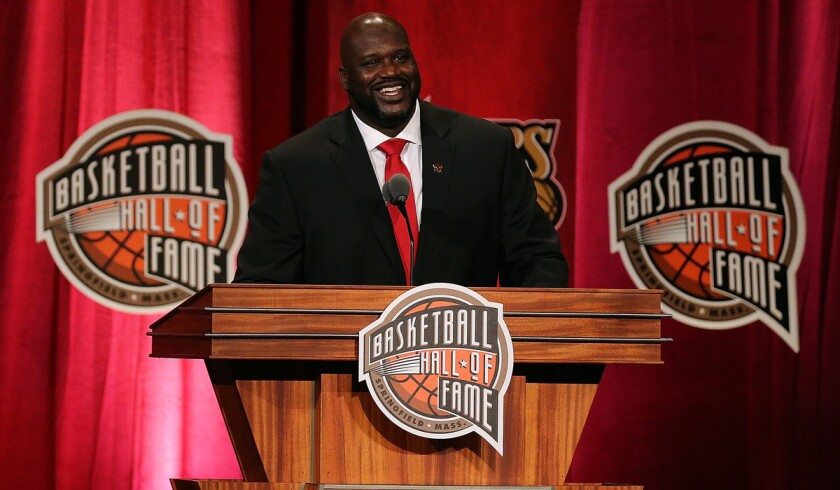 Shaquille O'Neal reacts during the 2016 Basketball Hall of Fame Enshrinement Ceremony at Symphony Hall Friday.