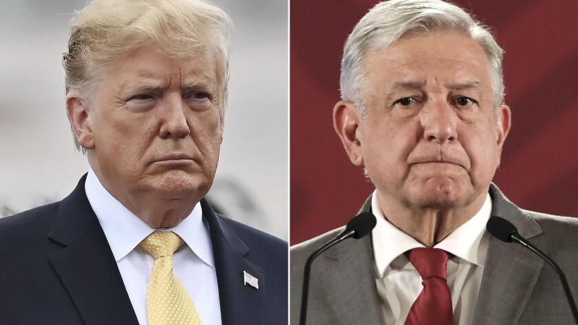 Los presidentes Donald Trump (EEUU) y Andrés Manuel López Obrador (México).