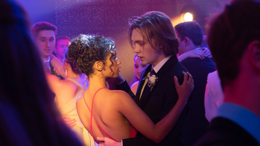 "Taylor Russell, left, and Charlie Plummer in the movie ""Words on Bathroom Walls."""