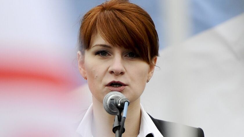 Maria Butina, shown in 2013, faces trial on charges of conspiracy and acting as an unregistered foreign agent for Russia.
