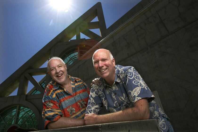 Richard Alf, left, and Mike Towry outside the San Diego Convention Center in 2009