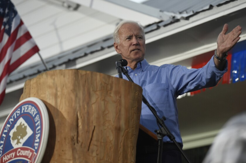 Former Vice President Joe Biden speaks at the Galivants Ferry Stump on Monday, Sept. 16, 2019, in Galivants Ferry, S.C. (AP Photo/Meg Kinnard)