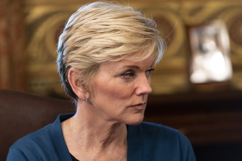 Energy Secretary Jennifer Granholm attends the inaugural meeting of the Task Force on Worker Organizing and Empowerment, in Harris' ceremonial office, Thursday, May 13, 2021, on the White House complex in Washington. (AP Photo/Jacquelyn Martin)