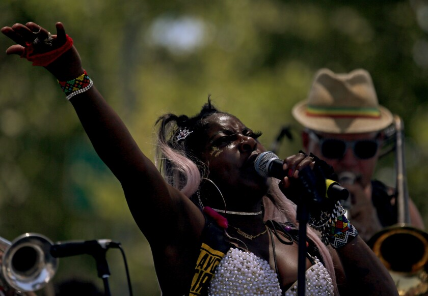 Singer Sonia Harley performs during Juneteenth celebrations in Leimert Park on Saturday.