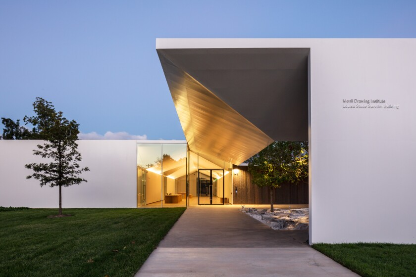 The entrance to the Menil Drawing Institute by Johnston Marklee & Assoc.
