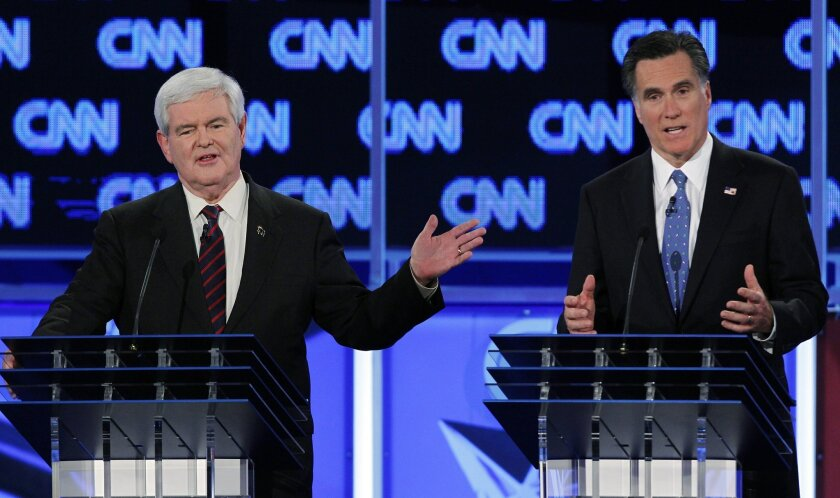 Days before the Florida primary, Newt Gingrich and Mitt Romney debate tax rates appropriate for capital gains. Romney said he paid about 15 percent on his income last year, largely because most was from capital gains,  and Gingrich, about 30 percent.