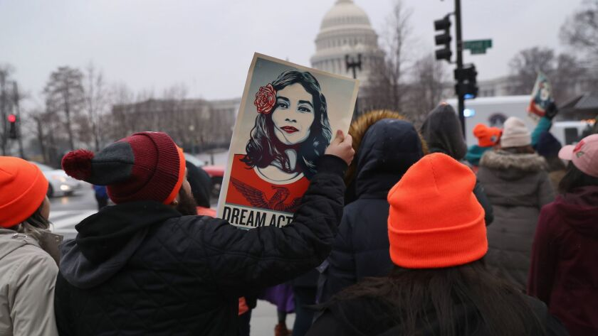 Immigration activists march at the U.S. Capitol in Washington last week.