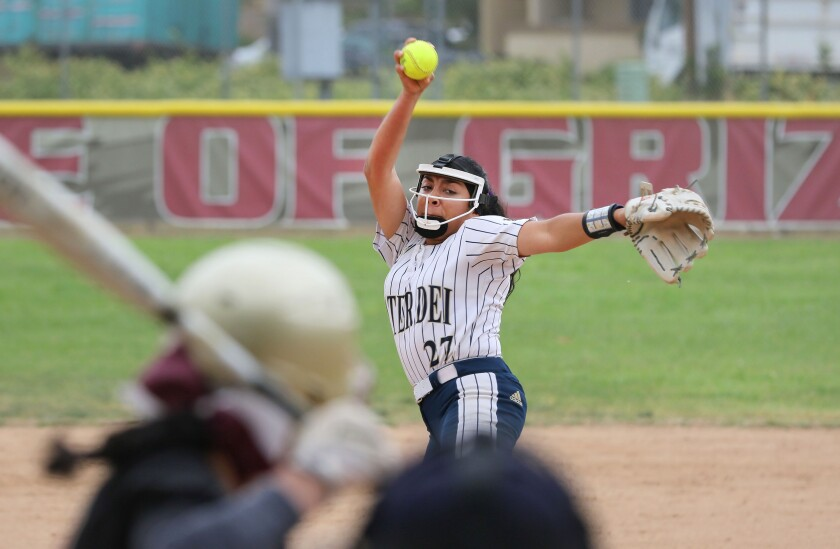 Mater Dei Catholic pitcher Gisselle Garcia fires to the plate against Mission Hills on Monday.