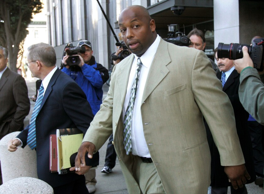 Dana Stubblefield leaves a federal courthouse in San Francisco in 2008.