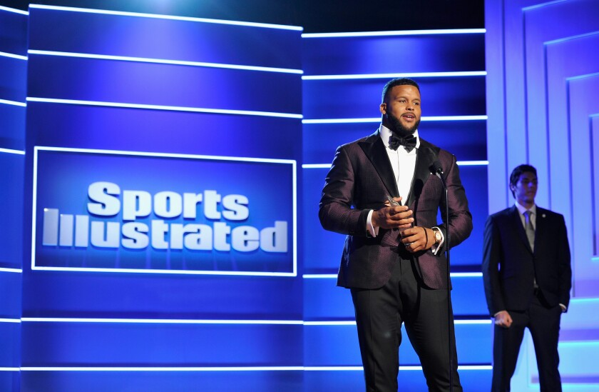 "Rams defensive tackle Aaron Donald accepts the ""Performer of the Year"" award during the Sports Illustrated 2018 Sportsperson of the Year Awards Show on Dec. 11, 2018."