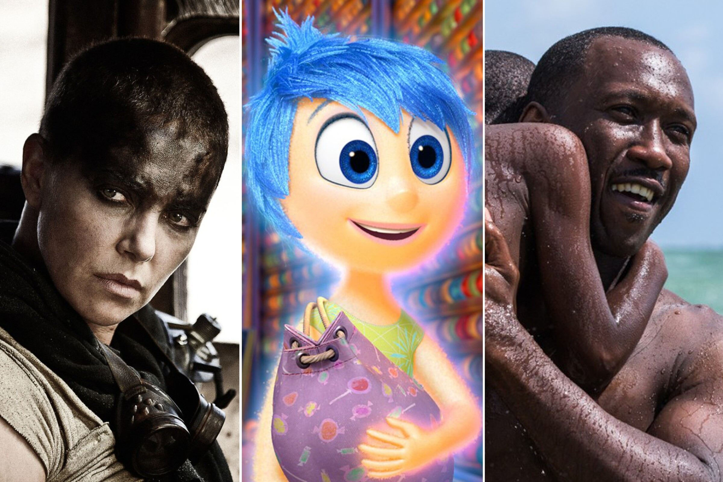"""Imperator Furiosa (Charlize Theron, left) of """"Mad Max: Fury Road,"""" Joy (Amy Poehler) from """"Inside Out"""" and Mahershala Ali in """"Moonlight."""""""