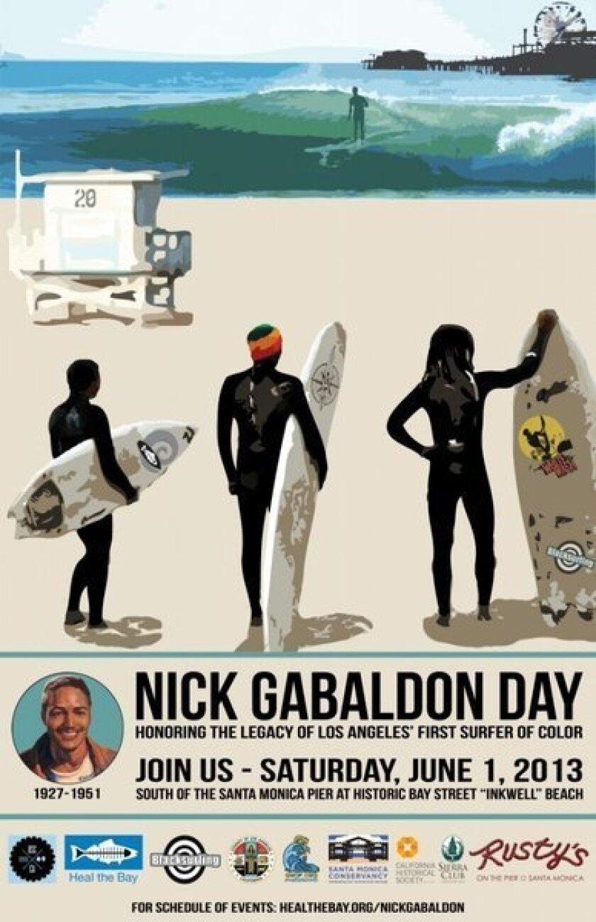 A poster advertises Saturday's Nick Gabaldon Day festivities in Santa Monica.