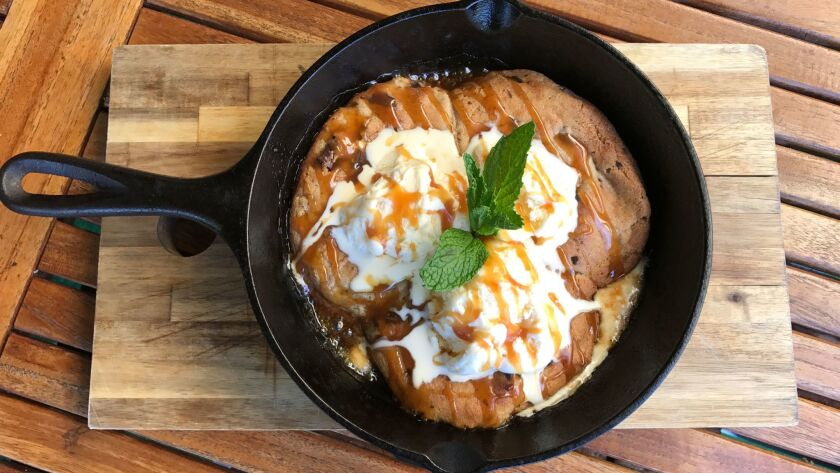 Fresh baked skillet cookie a la mode is one of the new dessert options at Striders.