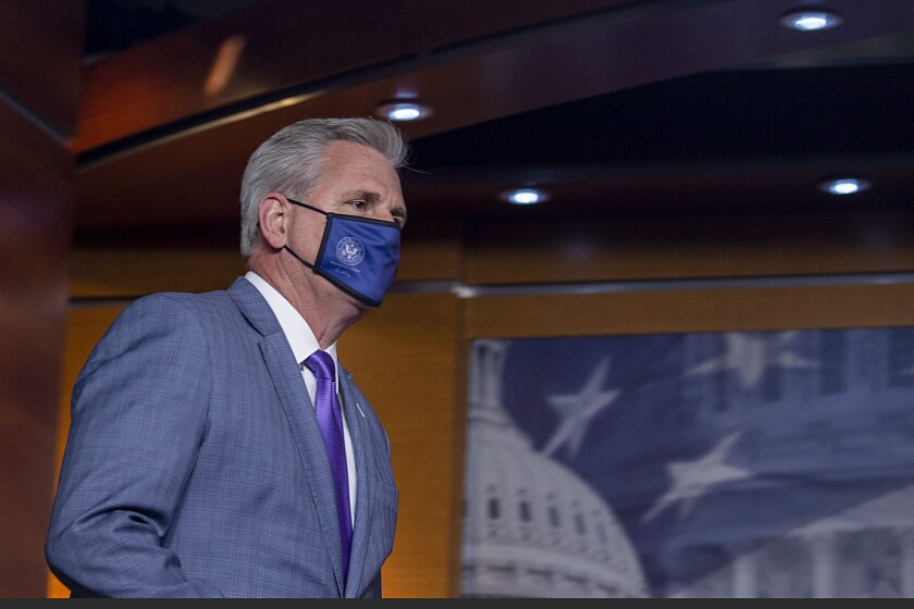 House Republican Leader Kevin McCarthy couldn't be bothered to wear a mask at his son's indoors wedding reception.