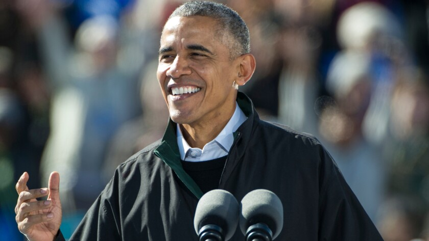 President Barack Obama at a campaign rally in Cleveland on Oct. 14.