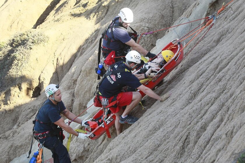 San Diego lifeguards had to rescue a woman from the base of the cliffs at Ladera Street in Point Loma after she fell a short distance to the bottom as she was trying to club back up. She suffered an injury to her leg.