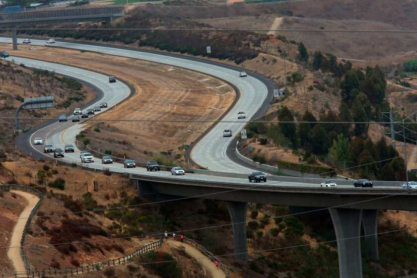 The South Bay Expressway toll road offers a less congested drive between Otay Mesa and Spring Valley, through Chula Vista. Questions linger over whether ridership will continue to grow on the expressway. Peggy Peattie/U-T San Diego.