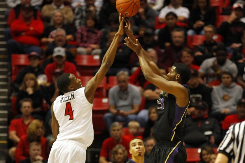 SDSU's Dakarai Allen blocks a shot by Washington's C.J. Cox.