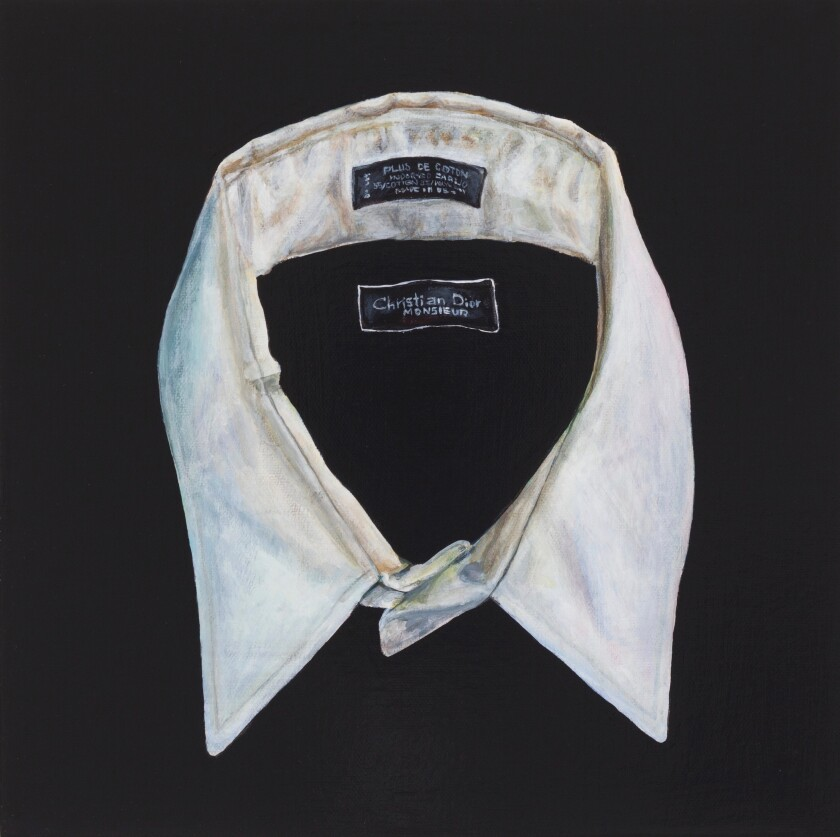 """The Ring Around the Collar, Yves Saint Laurent"" by Lun*na Menoh, 2012. Acylric on canvas, 12 inches by 12 inches"