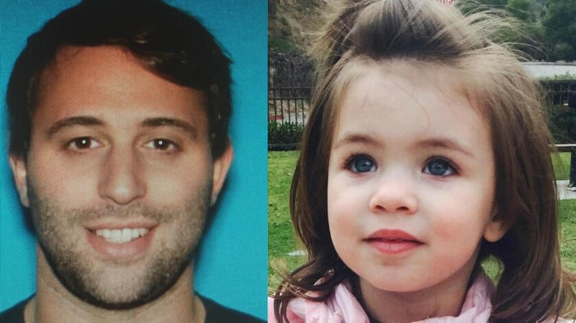 Jack Perry was arrested on suspicion of abducting his 2-year-old daughter, Lucia, who was found unharmed with him Monday in Palm Springs.
