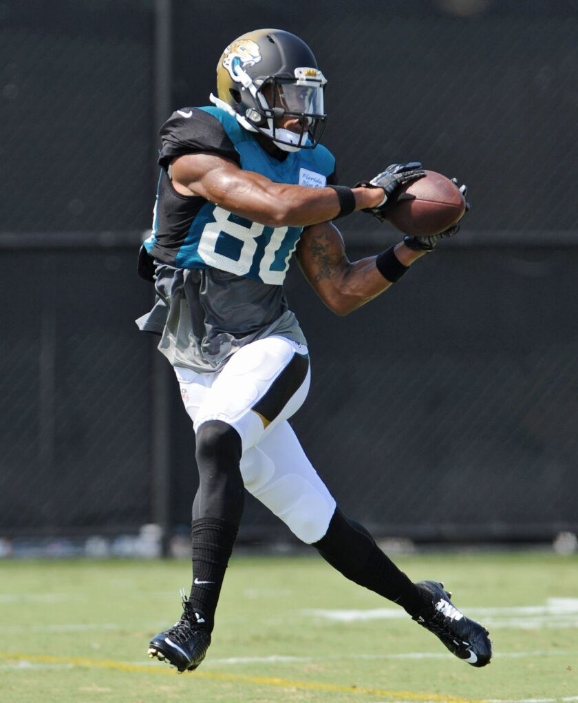 Jacksonville Jaguars Allen Robinson catches a pass during practice. on Wednesday July 30, 2014 on the Florida Blue Health & Wellness Practice Fields at EverBank Field in Jacksonville, Fla.     (AP Photo/The Florida Times-Union, Bob Mack)