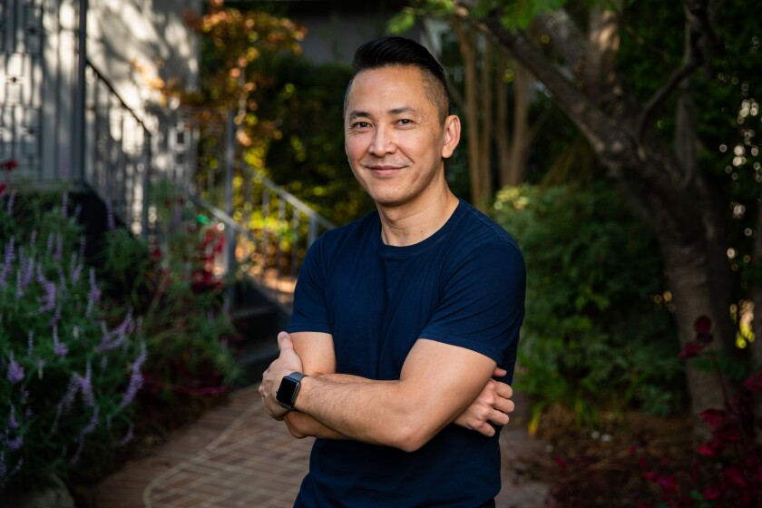 Viet Thanh Nguyen in the backyard of his Pasadena home.