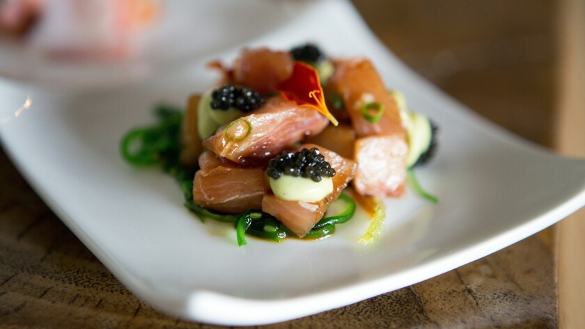 The hamachi poke dish consists of raw yellowtail on a bed of salad. The fis