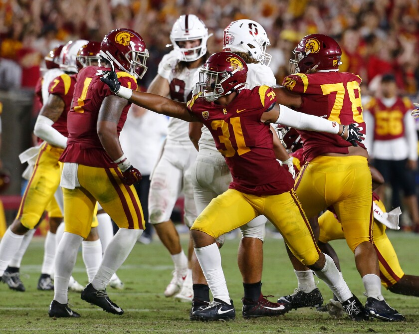 Hunter Echols and USC had plenty to celebrate during a 45-20 defeat of Stanford on Sept. 7, 2019.