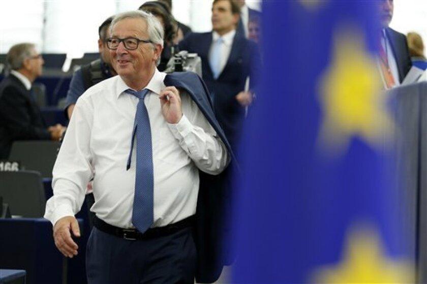 El presidente de la Commisión Europea, Jean-Claude Juncker, llega al Parlamento Europeo para ofrecer su discurso sobre el estado de la Unión, en Estrasburgo, Francia, el miércoles 14 de septiembre de 2016.