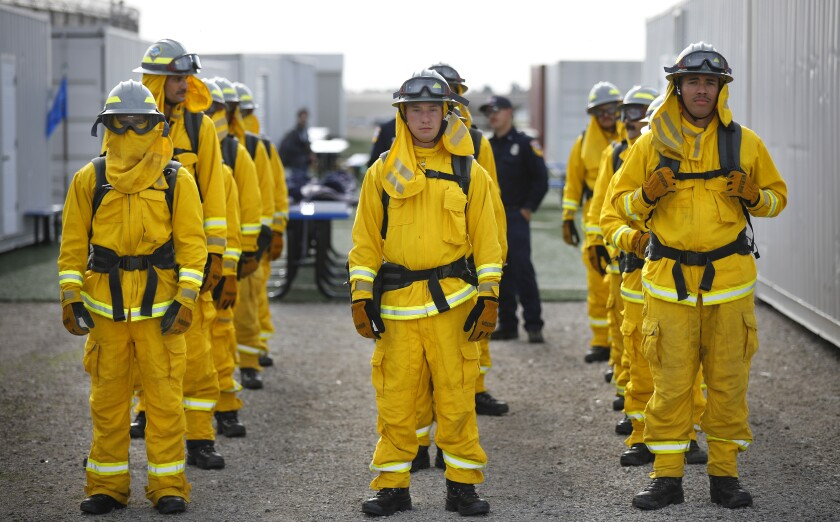 Fire cadets prepare to train Jan. 29 at the Ventura Training Center in Camarillo. The cadets are former prison inmates.