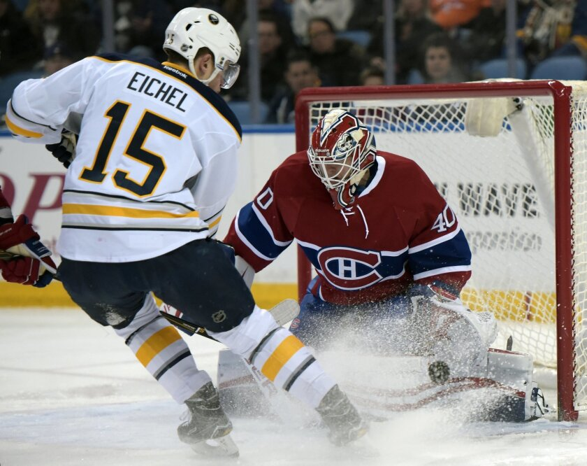 Buffalo Sabres center Jack Eichel (15) redirects a shot on Montreal Canadiens goaltender Ben Scrivens (40) during the first period of an NHL hockey game Friday, Feb. 12, 2016 in Buffalo, N.Y. (AP Photo/Gary Wiepert)