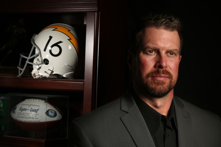 Former NFL quarterback Ryan Leaf, who was the second draft pick in the 1998 draft by the Chargers, was a bust in the NFL and served 32 months in prison before being released in 2014. Leaf now works with Transcend, who helps those struggling with addiction issues.
