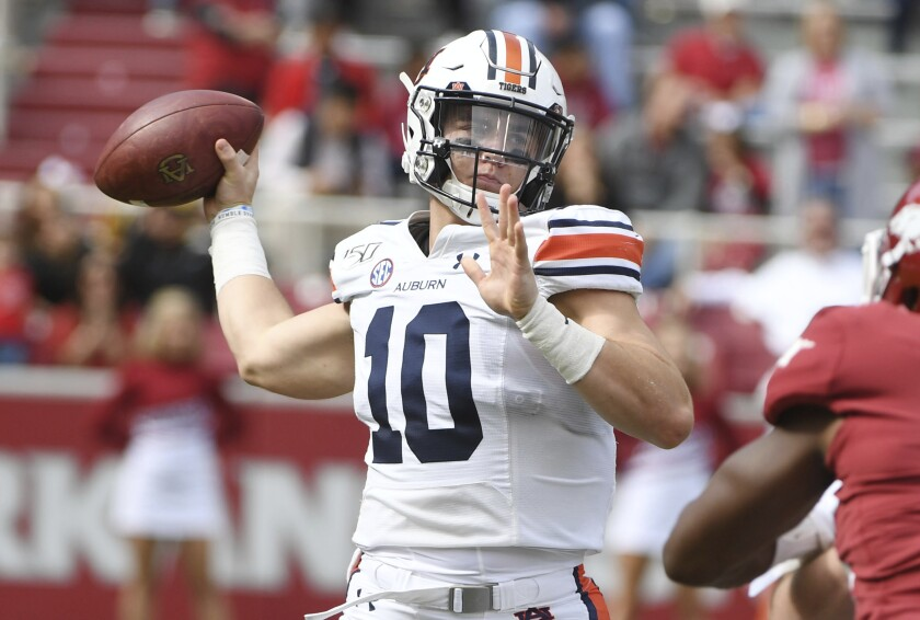 Auburn quarterback Bo Nix passes against Arkansas on Oct. 19.