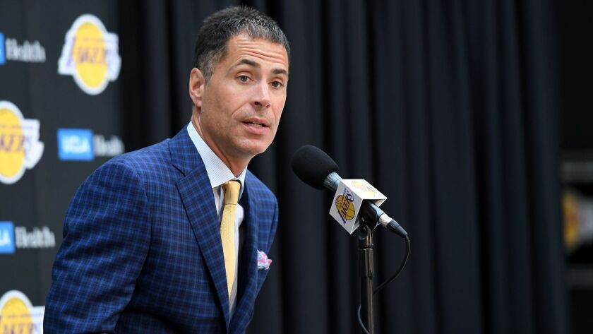 EL SEGUNDO, CALIFORNIA JULY 11, 2018-Lakers general manager Rob Pelinka answers questions during a p