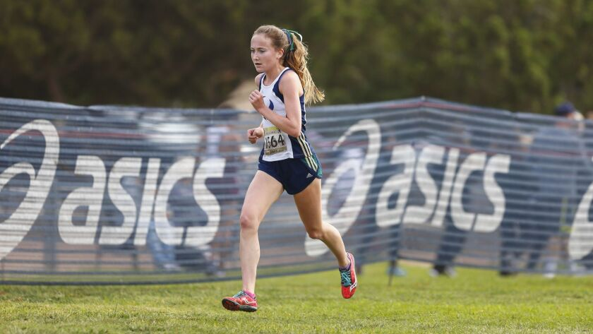 La Costa Canyon runner Kristin Fahy (shown in a meet earlier this season) had the girls' fastest time of the day on Saturday at Mt. SAC.
