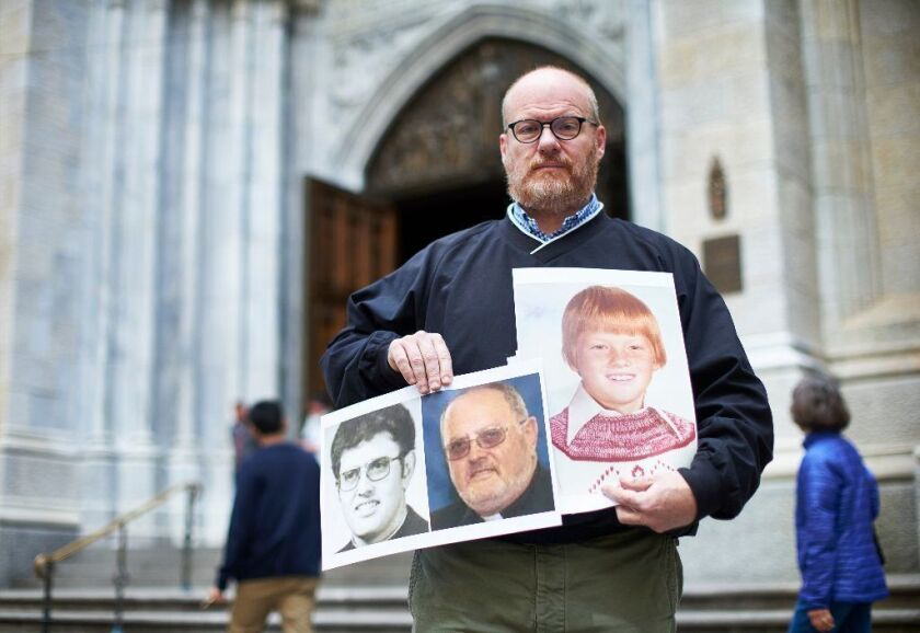 Child sex abuse survivor advocate Shaun Dougherty after a news conference at St. Patrick's Cathedral on Monday, May 15, 2017 in Manhattan, N.Y.