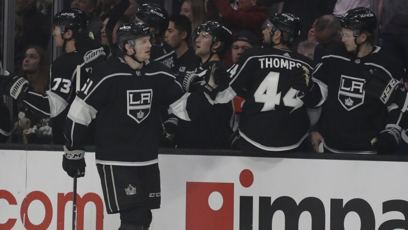 Los Angeles Kings left wing Austin Wagner celebrates after scoring during the first period of an NHL