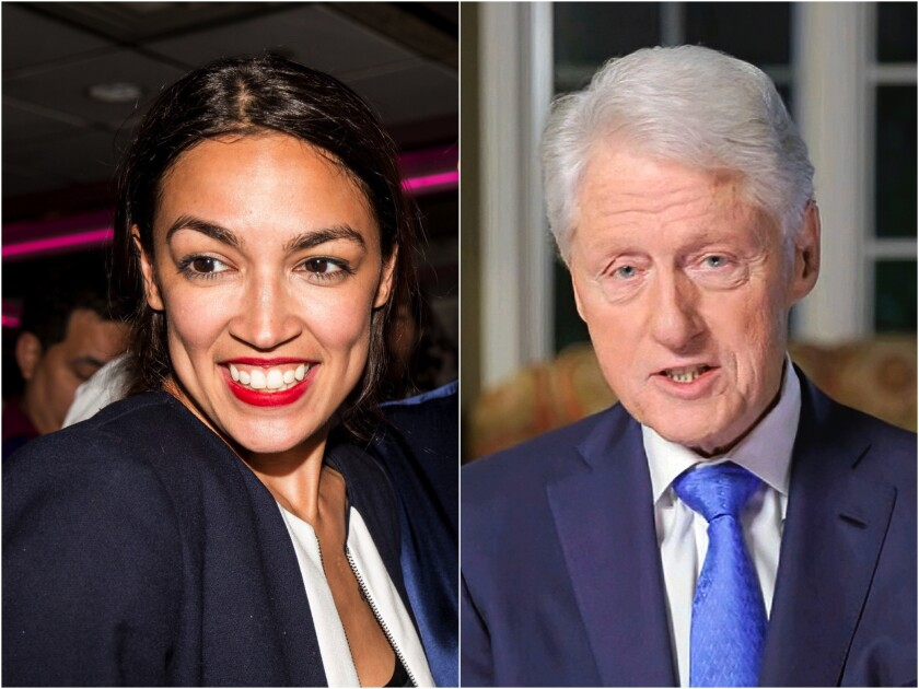 Alexandria Ocasio-Cortez, the youngest woman elected to Congress, and President Bill Clinton, now a Democratic Party elder.