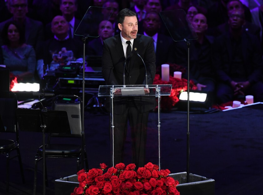 Jimmy Kimmel speaks during a memorial service for Kobe and Gianna Bryant at Staples Center on Sunday.