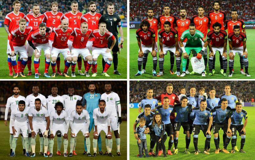 Combo de imágenes de los onces titulares de las selecciones del grupo A (Rusia, Egipto, Arabia Saudí y Uruguay) tras el sorteo del Mundial de Rusia 2018 celebrado en el Palacio del Kremlin de Moscú, Rusia, el 1 de diciembre del 2017.