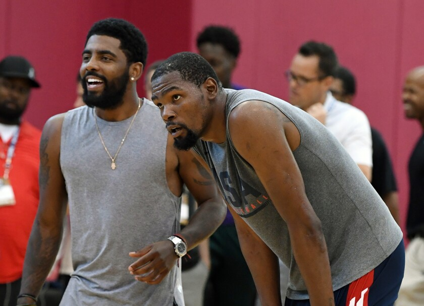 Former Team USA teammates Kyrie Irving and Kevin Durant will join forces in Brooklyn next season after Durant recovers from Achilles tendon surgery.