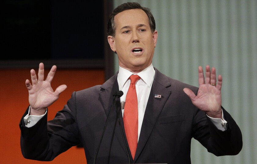 FILE - Republican presidential candidate, former Pennsylvania Sen. Rick Santorum speaks during the Fox Business Network Republican presidential debate in North Charleston, S.C. on Jan. 14, 2016. The CNN analyst went on the network to try and explain comments about Native Americans that have led to criticism, but didn't appear to calm things down. Santorum told a group of young conservative last month that there was 'nothing here' when immigrants founded the United States. That angered Native Americans and others. He said on CNN Monday that he was speaking in context of the U.S. government's creation and didn't mean to minimize treatment of Native Americans. (AP Photo/Chuck Burton, File)