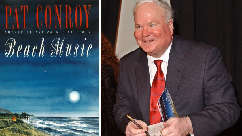 """The cover of """"Beach Music,"""" published in 1995. At left, Pat Conroy attends a benefit reading in February 2002 in New York."""