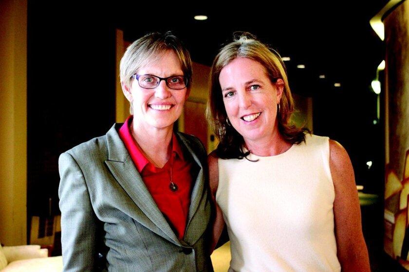 'The College Solution' blogger Lynn O'Shaughnessy with La Jolla Cluster Association member Melinda Gaffney.