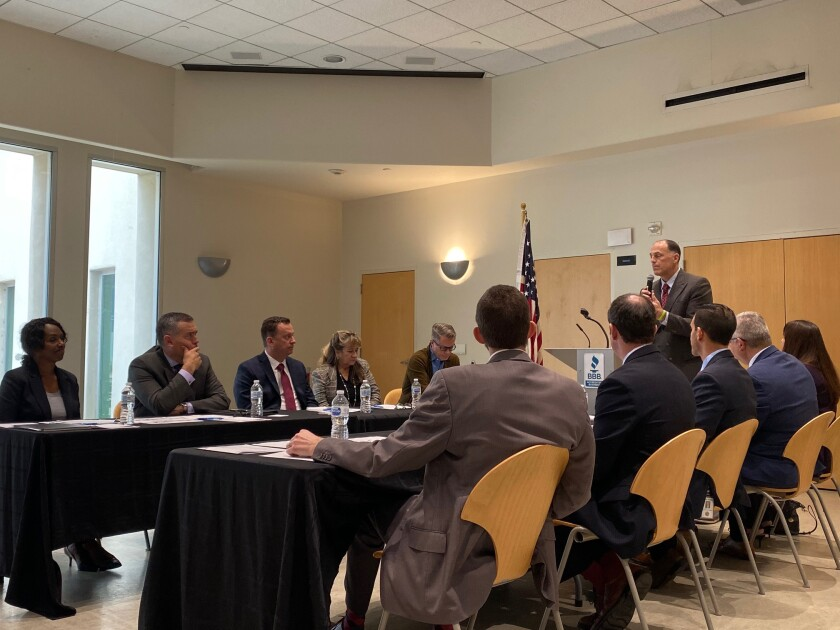 Internal Revenue Service Public Affairs Officer Raphael Tulino leads a group of panelists in a discussion about financial safety during the holiday season. The discussion was streamed on Facebook from the Mission Valley Library on the afternoon of Dec. 3.