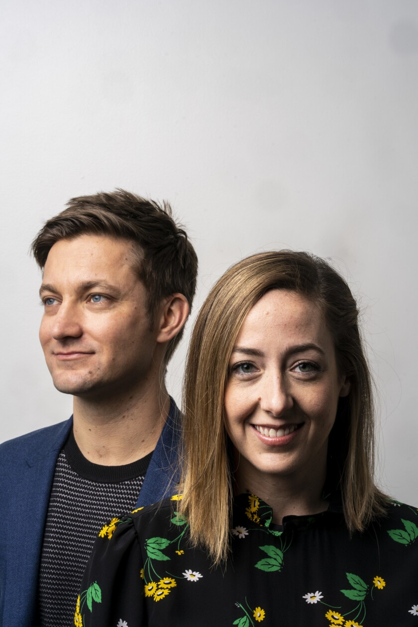 HOLLYWOOD, CALIF. - JANUARY 11: Chris Kelly and Sarah Schneider pose for a portrait at the Comedy Ce