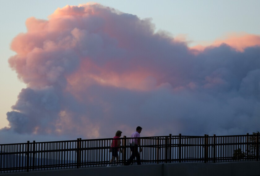 A plume of smoke from the Lake fire in Lake Hughes