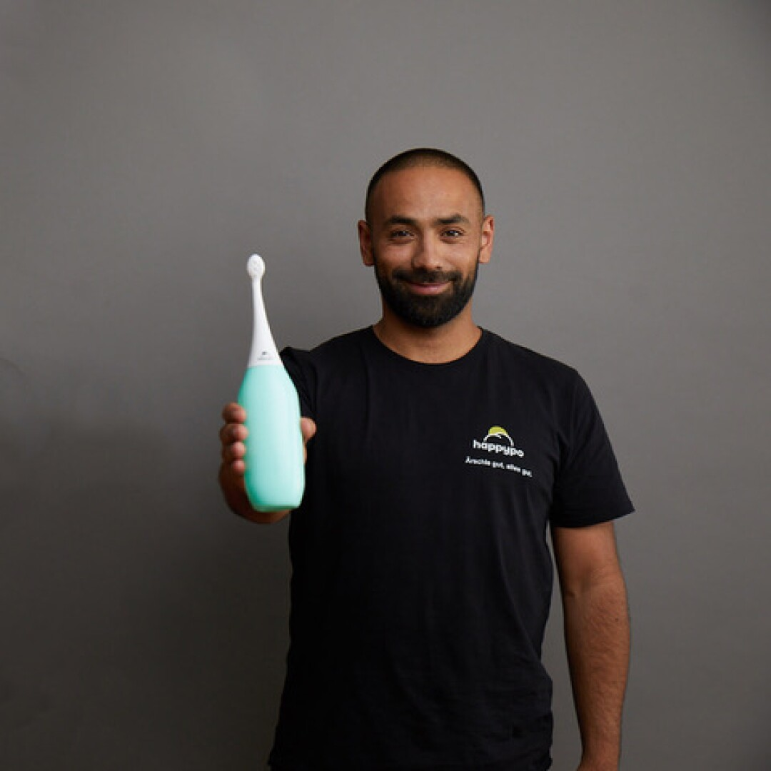 """Oliver Elsoud, 37, created """"Happy Po,"""" an alternative to toilet paper that saw its sales surge in the pandemic."""
