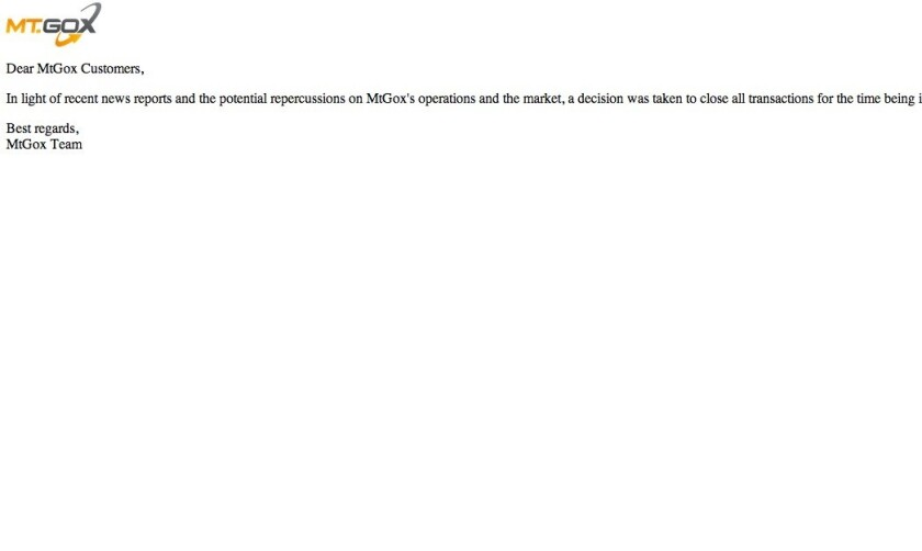 The Mt. Gox home page today: Nothing to see here, just move along.